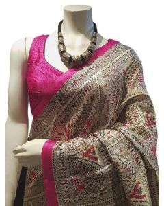 Madhubani Saree in Faux Ghicha Silk with Stitched Blouse