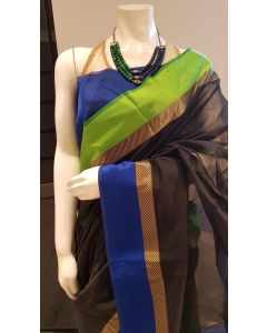 Black sari in Cotton silk with Blue Green color Border