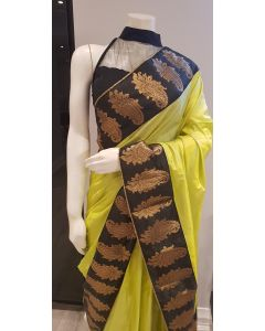 Green Pure Silk Saree with Paisley Black Border with Stitched Blouse