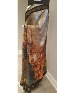 Beige & Black Printed Satin Saree with Black Velvet Border with Crystal Embellishment