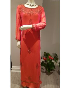 Indo Western Designer Georgette Long Gown in Rust with Hand Embroidery in Big Size