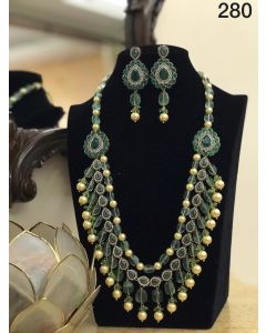 Pearls and Green beads Necklace Set