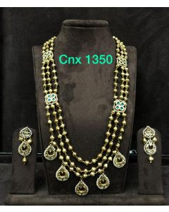 Gold Beads Triple Strings Necklace Set