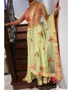 Indian Light Green Lehenga with Copper Embroidery and Contrast Peachy Pink Top