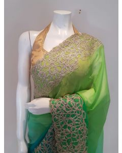 Pure Chiffon Ombre Colour in Green and Blue Saree with Stitched Blouse