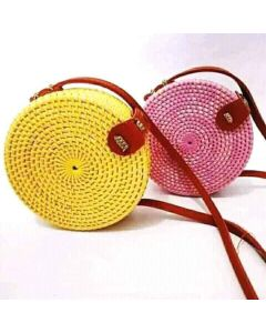 Rattan Cane woven handmade handcrafted eco friendly Shoulder bag in Pink  and yellow colour