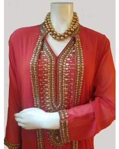 Rust Colour Georgette  Long Party Gown  with Gold Kundan Work in Extra Large Size