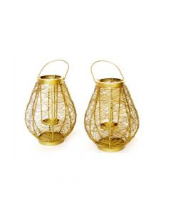 Gold Laced Wired Handwoven Tea Light Lantern