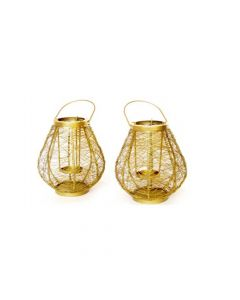 Gold Laced  Wired  Small Handwoven Lantern