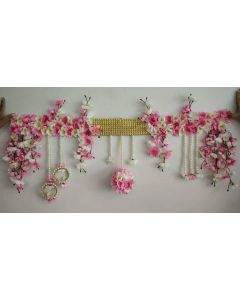 White and Pink floral Backdrop string for wedding or party
