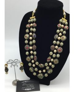 Rajasthani Beaded 3 Strings Long Necklace