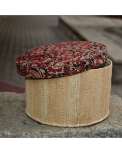 15 Handmade Eco Friendly Banana Fibre Round Box with Kalamkari  Lid