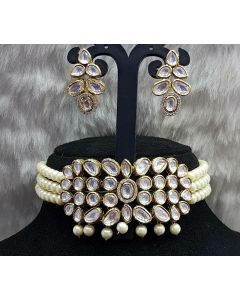 Choker Style Kundan Necklace  Set with Pearl Band