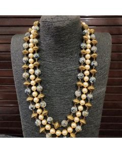 Grey and Pearl Beaded Necklace