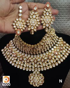 Choker Style Bridal Kundan Five piece Necklace Set with a Real look