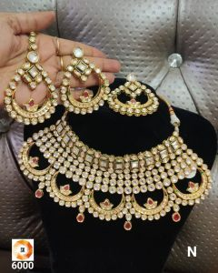 Choker Style Bridal Kundan Five piece Necklace Set with  aReal look