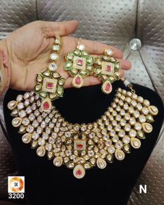 Bridal Kundan Five piece Necklace Set with a Real look