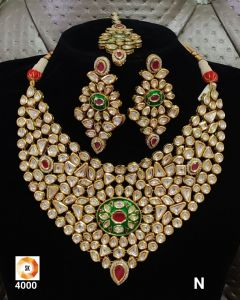 Heavy Gold Plated Bridal  Five piece  Kundan Necklace Set with a Real look