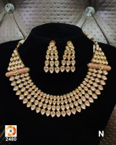 Three piece Gold Plated Kundan Necklace Set with Earrings