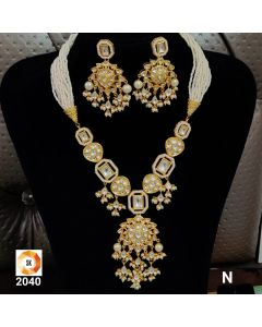 Gold Plated Pearl Set with Big KundanEarrings