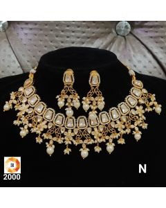 Pearl Necklace Set  with Long Earrings