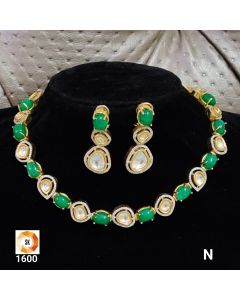 Gold plated  Choker in Polki and Green Beads