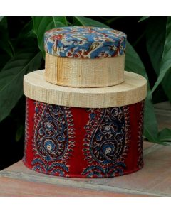 15  Handmade Eco Friendly Banana Fiber Round Box with Kalamkari Design