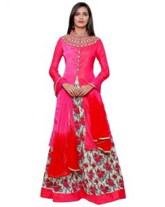 Indian  Party Wear Magenta Color Full Floral Embroidery Satin Silk Lehenga with long Jacket and Free Shipping
