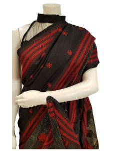 Beautiful Kantha saree in Black with Red embroidery