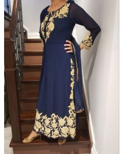 Navy Blue Georgette Designer Plazzo Suit with Thread Embroidery