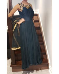 Moss  Green Indian Gown with Hand Embroidery for a Wedding party