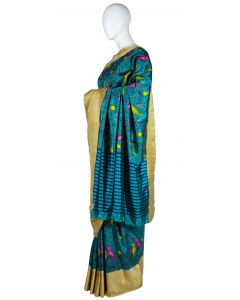 Teal Color Dupion Silk Printed Saree with contrast Beige Border