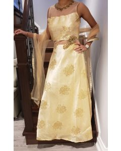 Indian Long Dress in Beige Colour with Foil Print  for a Wedding Party
