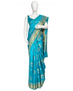 Turquoise  Banarasi Silk  Saree in All over Floral Pattern and Zari Border, Pallu and Matching Blouse