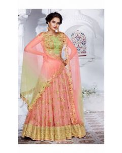 Indian Designer Heavy Party wear Peach Green Lehenga Choli (Croptop) Gown with Free Shipping