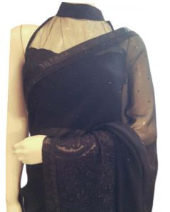 Black Georgette  Saree with Black  Silk Thread work, Satin and Studs Border with matching Blouse