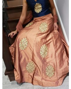 Indo Western Embroidered Faux Silk Brown Skirt with Navy Blue Embroidered Crop Top