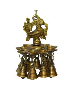 Annapakshi Hanging Oil Lamp / Diya with 9 Bells – Brass Handcrafted & Traditionally Designed in Antique Finish