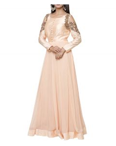 Peach Color Georgette Dress with Dull Gold Embroidery and Cold Shoulder Sleeves