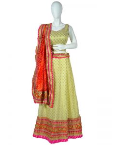 Off White Banarasi Georgette Indian  Chania  Choli with Gota Patti work and Pink  border, Red Bandhini Dupatta
