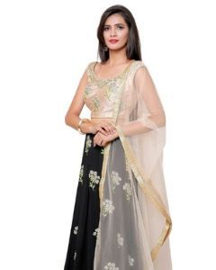 Indian Party Wear Black Georgette Thread Embroidered Lehenga Gown with Peach Silk Croptop with Free Shipping