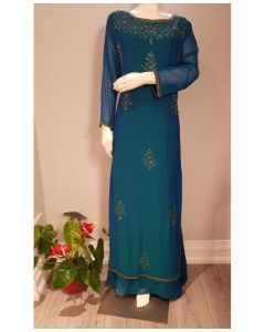 Indo Western Designer Georgette Long Gown in Prussian Blue with Hand Embroidery in Big Size