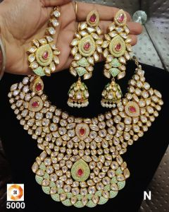 Gold Plated Heavy Bridal Five piece Kundan Necklace Set with Green Mina work