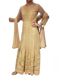 Dull Golden Anarkali suit with Dori and Thread Work