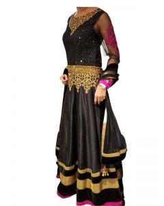 Indian Black Anarkali Suit with Crystal Work for a Wedding Party