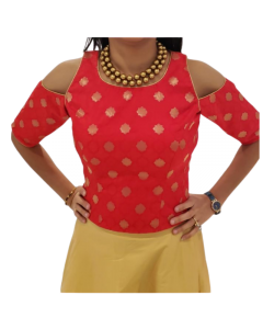 Red Gold Polka Brocade Corset Blouse with Cold Shoulder