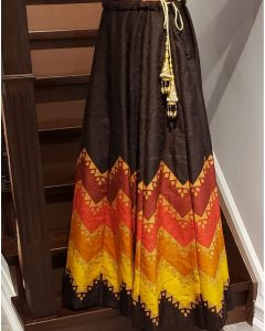 Faux Silk Multi coloured Indian Skirt