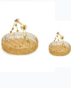 """11""""and 8"""" Gold Wired Flower Basket in Big and Small Size- Pack of 2"""