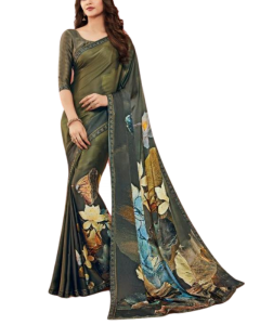 Green Floral Printed  Satin Saree with Embellishments with Stitched Blouse