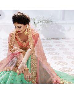 Indian Heavy Party Wear Green Color Net Lehenga  Gown with Golden Thread Embroidery and Pink silk Croptop with Net Dupatta and Free Shipping
